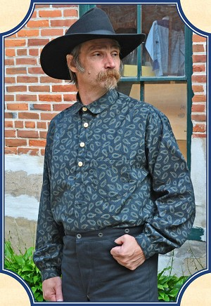 Shirt - Frontier Old West Shirt - Dark Blue Paisley - Heirloom Brand