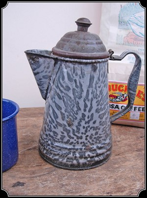 Antique Collectable Cowboy Coffee Pot - Enamel