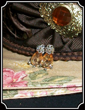 Jewelry - Peach Topaz with Marcasite Sterling Silver