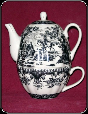 Tea Pot - Tea-for-One Set Black Pattern