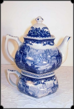 Victorian Tea-for-One Porcelain Rose or Blue Pattern